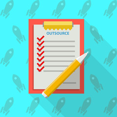 Flat illustration of clipboard for outsource
