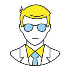 Vector Flat Line Design Concept Man in Business Suit Icon