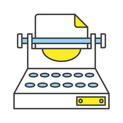 Vector Flat Line Design Concept Typewriter Icon