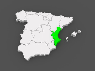 Map of Valencia. Spain.