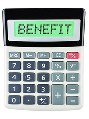 Calculator with BENEFIT on display isolated on white background