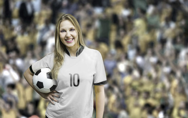 German female fan soccer holding a soccer ball