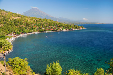 Scenic view of Agung volcano from Amed village