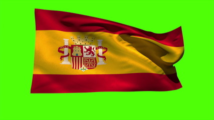 Spain national flag blowing in the breeze