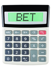 Calculator with BET on display on white background