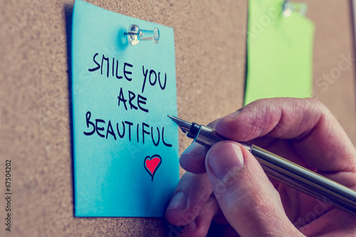 canvas print picture Smile you are beautiful
