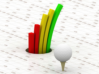 Business graph with 3d golf