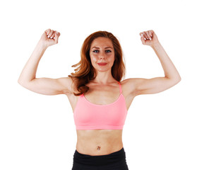Woman showing her muscles.