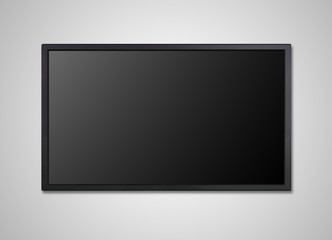 TV display on wall black screen