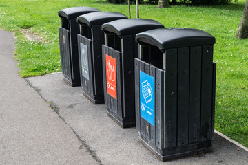 Recycling Bins in the Park