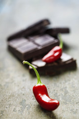dark chocolate with chilli pepper - sweet food