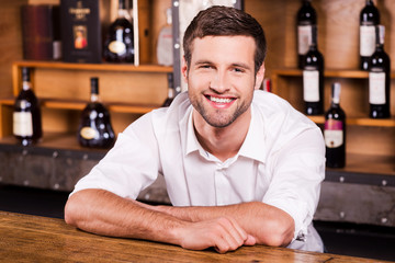 Cheerful bartender.