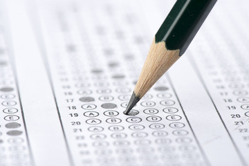Multiple choice examination form with pencil