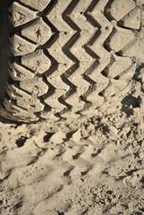 Battistrada di pneumatico sulla sabbia