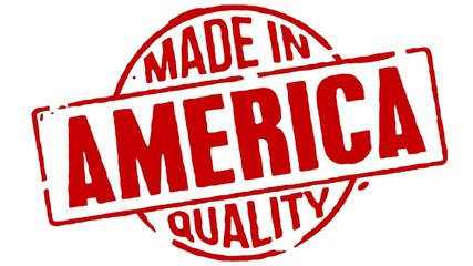 Red Rubber Stamp Made In America