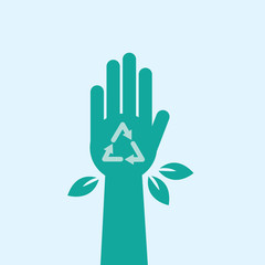Green hand with recycle symbol and leaves