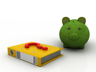Document folder with piggy bank