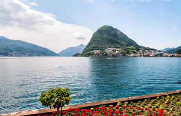 Lugano, view of the gulf from the botanical garden