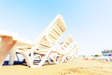 Sun sunbeds on the Turkish resort