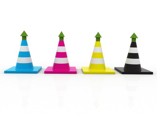 3d Traffic cones in CMYK colors