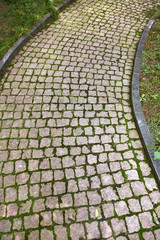 Road paved with the cobble stones
