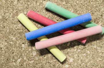 colored chalks, many