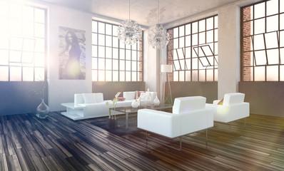Modernes Wohnzimmer in einem Loft
