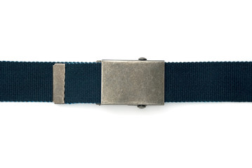 Blue belt with square buckle isolated on white.