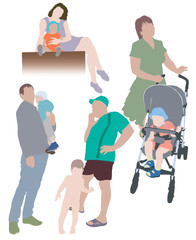 Vector silhouettes of a familyin color
