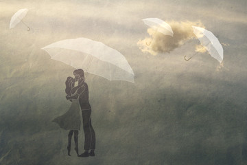 couple in love under an umbrella
