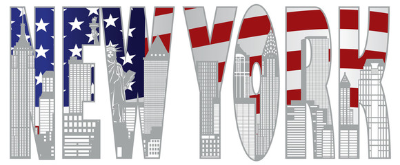 New York City Skyline Text Ooutline Illustration Vector