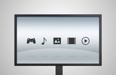 desktop Monitor display with entertainment icon