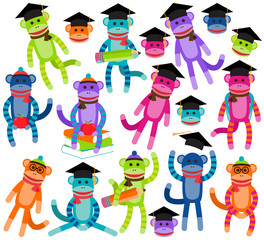 Vector Collection of Brightly Colored School Themed Sock Monkeys