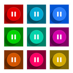 pause flat icon vector set