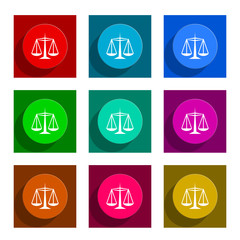 law flat icon vector set