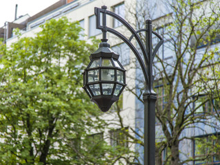 Dusseldorf, Germany. Beautiful ancient lamp on Kyonigsalley.