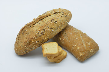 assortment of breads with natural grains and nuts