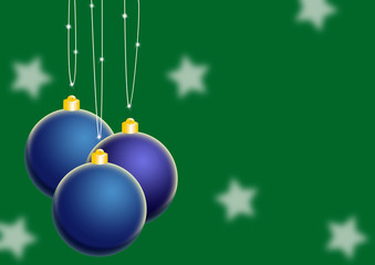White stars and blue christmas tree balls
