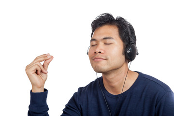 Asian man happy  listen to music do finger snapping