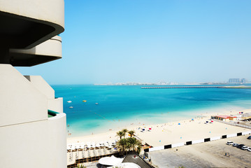 The view from balcony on beach and Jumeirah Palm man-made island