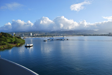 USS Arizona Memorial from the Bow of the USS Missouri