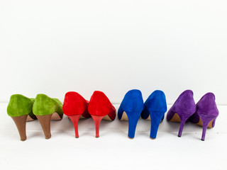 row of suede stiletto shoes