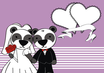 teddy panda bear married cartoon background