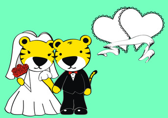 tiger married cartoon background