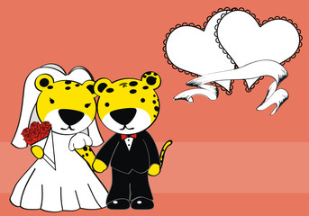 leopard married cartoon background