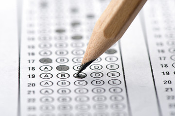 Multiple choice examination form with natural pencil
