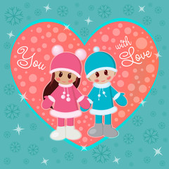 Girl and boy holding hands in winter clothes