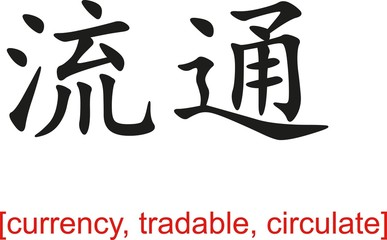 Chinese Sign for currency, tradable, circulate