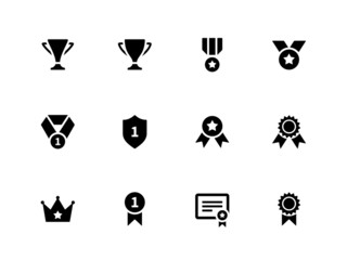 Medals and cup icons.