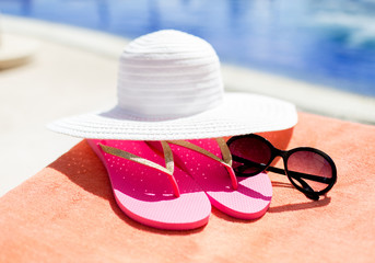 close up of summer accessories
